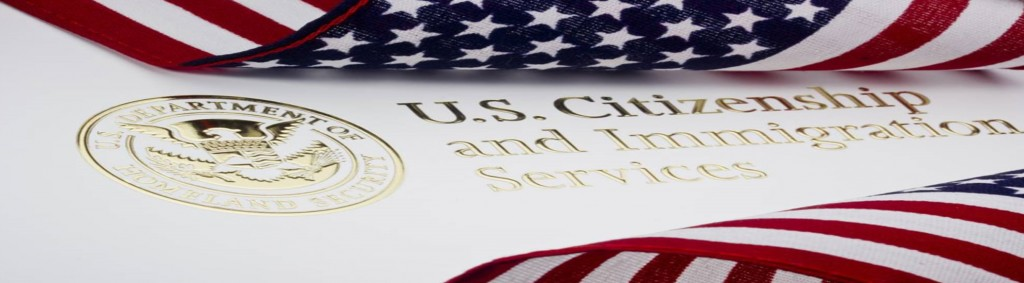 embossed logo of U.S Citizenship and immigration services with an american flag