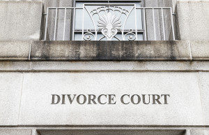 """view of building with the words """"divorce court"""" on it, presumably where a divorce attorney would be"""